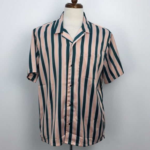 NWT Urban Outfitters Pink Green Striped Shirt
